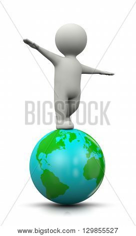 3D Character Balanced On The World