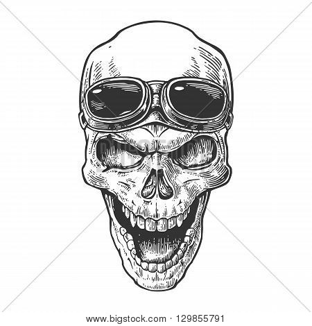 Skull smiling with glasses for motorcycle on forehead. Black vintage vector illustration. For poster and tattoo biker club. Hand drawn design element isolated on white background