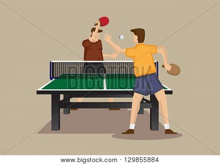 Cartoon vector illustration of ping pong players smashing ping pong ball with bats in an exciting game isolated on plain background.