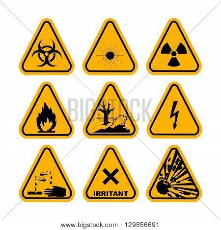 Warning Hazard Symbols. Set of vector icons. High voltage, toxic, caution, fire, laser radiation, radioactive, explosion, corrosive, irritant.