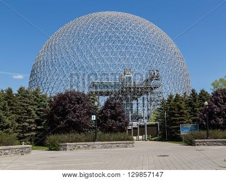 MONTREAL CANADA - 17TH MAY 2015: The outside of the Biosphere Museum during the day showing part of the dome.
