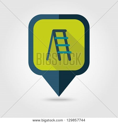 Ladder stepladder stair staircase stairway flat vector pin map icon. Map pointer. Map markers. Garden eps 10