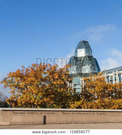 OTTAWA CANADA - 12TH OCTOBER 2014: The outside of the National Gallery of Canada in the morning