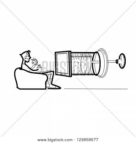 Television propaganda media drug. The viewer in front of the TV syringe. Modern media
