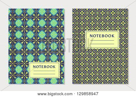 Notebook cover designs. Two exercise books with abstract blue and yellow pattern and place for text. Oriental style collection. Vector set.