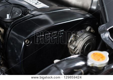 BANGKOK, THAILAND - APRIL 10, 2016 : RB26DETT Twin turbo engine in Nissan skyline R33 GTR 1996 model. Ninth generation of Nissan skyline.