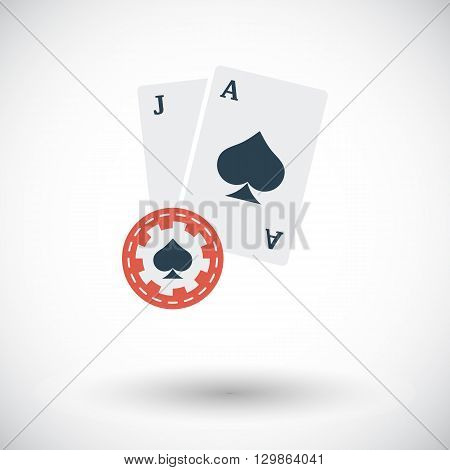 Blackjack icon. Flat vector related icon for web and mobile applications. It can be used as - logo, pictogram, icon, infographic element. Vector Illustration.