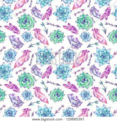 creative seamless pattern with hand-painted tribal design elements - arrows, gems, plants for wallpaper and textile design