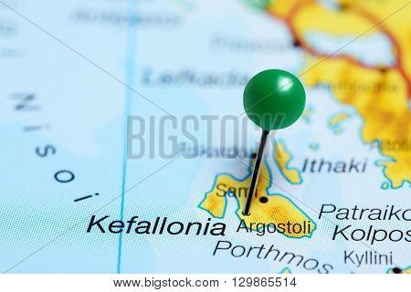 Argostoli pinned on a map of Greece