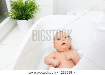 Bathtime For A Cute Little Newborn