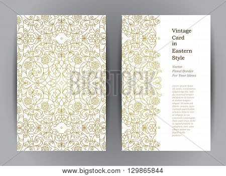 Golden Floral Vintage Cards In Eastern Style.