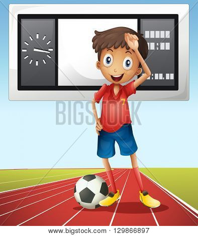 Soccer player and score board illustration
