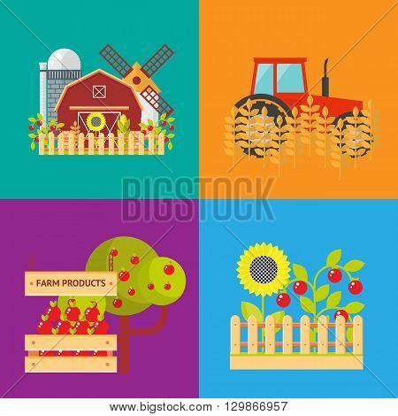 Farm flat vector set. Isolated farm elements on color background.  agriculture farm house and tractor. Farm food, farm object