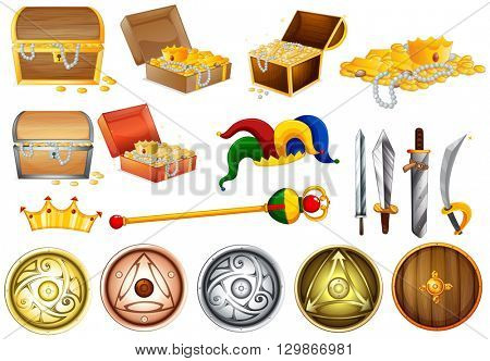 Treassure chest and weapons illustration