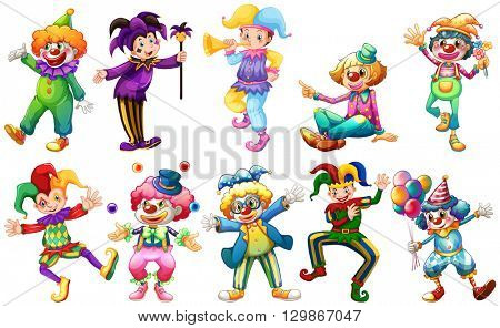 Clowns in different costumes illustration