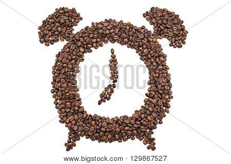 Alarm clock of coffee grains isolated on white background. Coffee beans in clock symbol pointed at seven o'clock