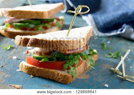 Club Sandwich With Fresh Cucumber, Tomato And Ham, Watercress Salad.