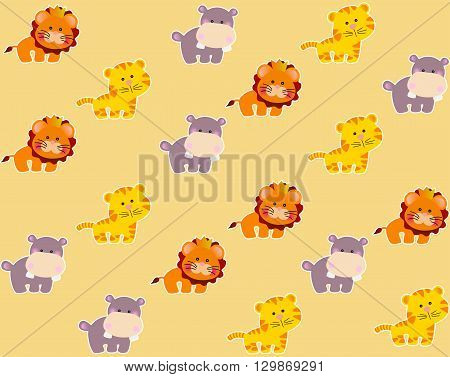 Drawing of a seamless pattern with cute african animals - lion, tiger and hippo in cartoon style