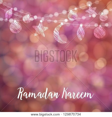 Ramadan decorative string. Hanging moon stars balls. Festive colorful glitter blurred web background bokeh lights. Greeting card invitation for muslim holy month Ramadan Kareem. stock vector