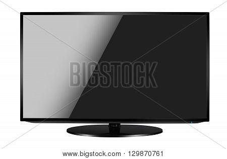 Modern blank flat screen TV set isolated on white background.