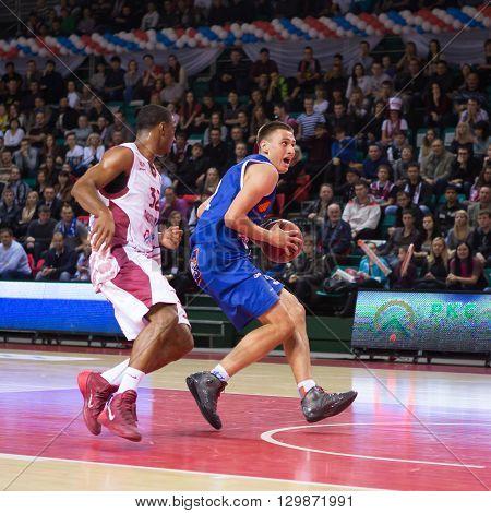 Bc Neptunas Forward Edgaras Ulanovas With Ball Drives To The Basket
