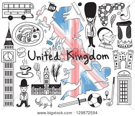 Travel to United kingdom England and Scotland doodle drawing icon with culture costume landmark and cuisine tourism concept in isolated background create by vector