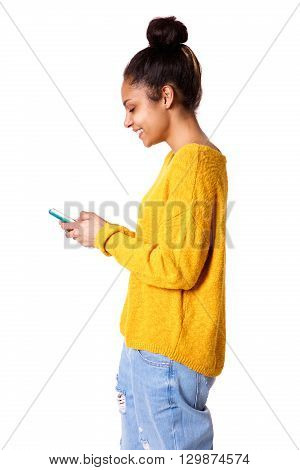 Happy Young Woman With Using Mobile Phone