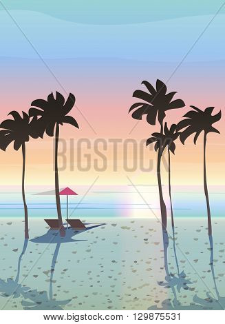 Summer vacation vector illustration.  Beautiful sea landscape, sunrise and sunset.