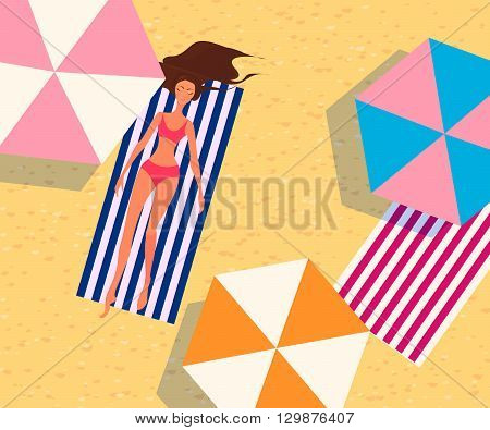 Summer vacation vector illustration.  Woman is sunbathing on a beach. Top view.