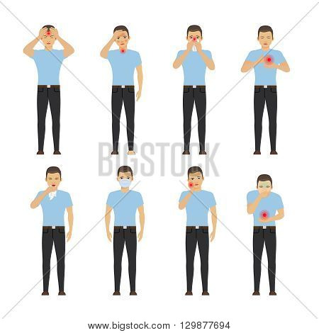 Human diseases. Sick man with pain and diseases vector illustration