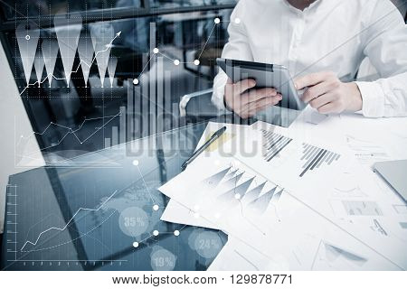 Picture Analytics Department working Market Charts.Trade Manager work process.Use Digital device.Graphic icon, Worldwide Online Stock Exchanges Interface on Screen.Business Project Startup.Film Effect.