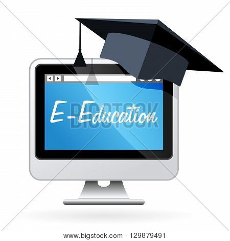 Distance learning - computer and mortarboard e-education concept
