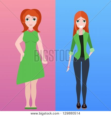 Vector flat illustration of two women of different stature for infographics and your creativity