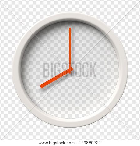 Realistic Wall Clock. Eight o'clock am or pm. Transparent face. Red hands. Ready to apply. Graphic element for documents, templates, posters, flyers. Vector illustration