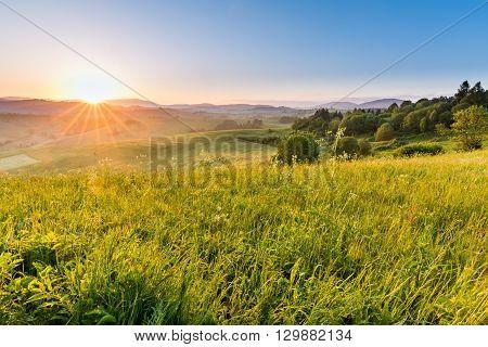 Fields And Hills At Sunrise Near Dolny Kubin In Slovakia