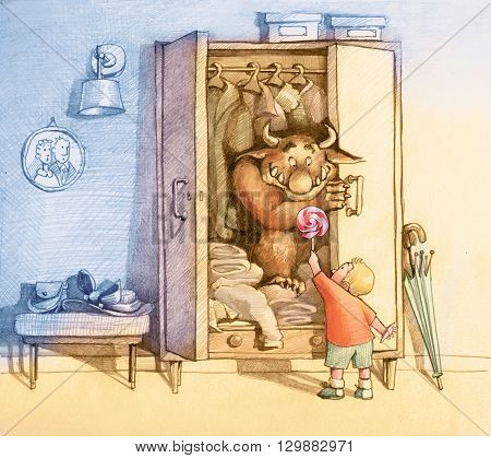 child draws a cute monster living in a closet use a lollipop