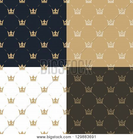 Set seamless pattern in retro style with a white and gold crown on a blue, gold, white and brown background. Can be used for wallpaper, pattern fills, web page background, surface textures. Vector Illustration