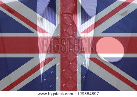 Businessman in suit with blank badges and british flag concept of Brexit referendum