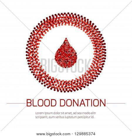 Blood donation medical poster. Vector illustration of a drop of blood in a circle made of dots on white background. Blood transfusion. World Blood Donor Day.