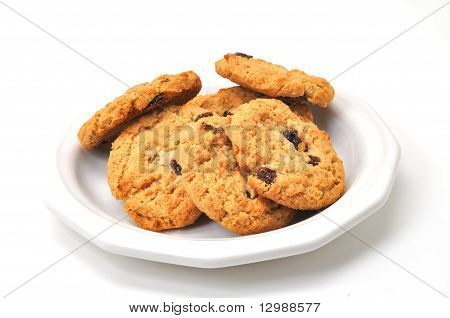 Oatmeal Cookies On Plate Isolated