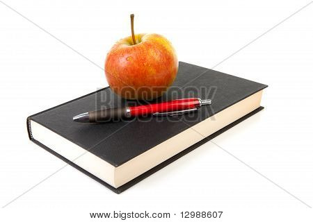 Back To School: Black Book With Apple And Pencil
