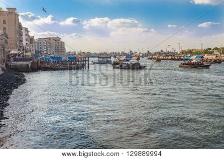 Water Taxi Crossing The Famous Creek In Dubai, Uae