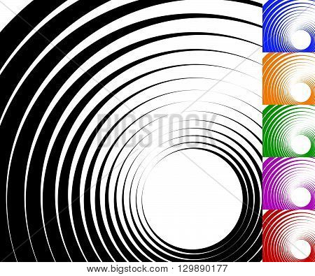 Abstract Background Set With Concentric Rotating Circles.