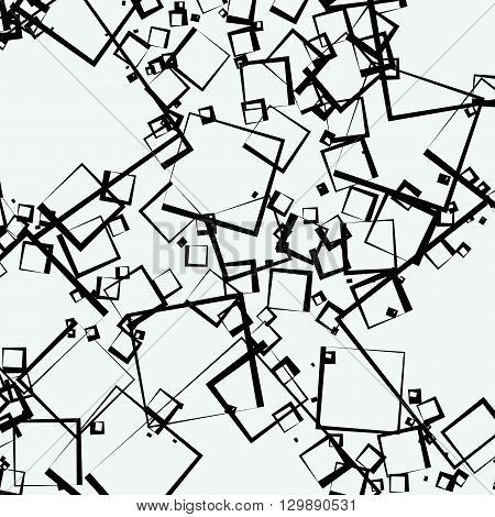 Scattered Squares Abstract Geometric Pattern. Overlapping Rectangular Shapes. Monochrome Artistic Il