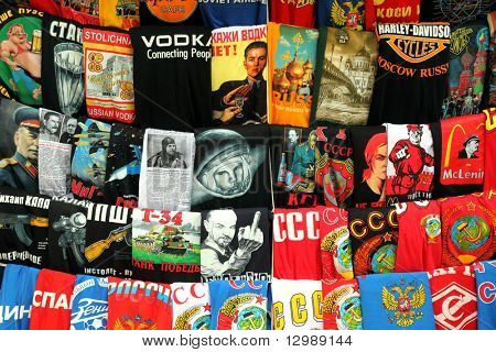 MOSCOW - MAY 15: Fairy of shirts with different russian national prints at Izmailovsky Vernisage May 15, 2010 in Moscow, Russia