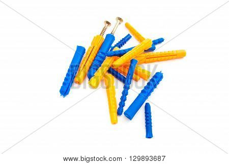 Colorful Dowels And Screws On White