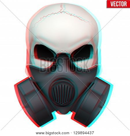 Vector Human skull with visual Anaglyph stereoscopic effect. Vector Illustration Isolated on White Background