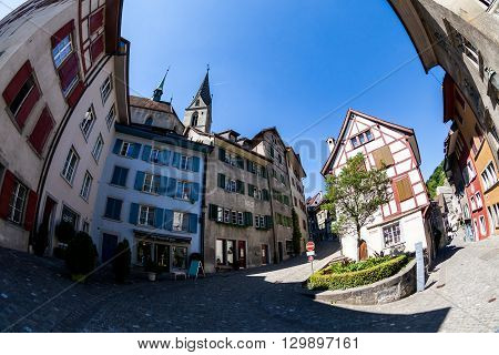 BADEN AARGAU SWITZERLAND - JUNE 30 2015: Exterior views of the old town part of Baden on June 30 2015. Baden is a municipality in the Swiss canton of Aargau located 25 km (16 mi) northwest of Zurich.