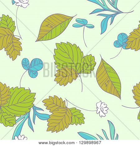 Forest herbs. vector  hend drawn floral seamless pattern