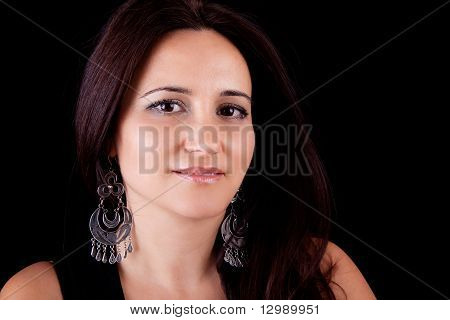 Smiling Middle-age Woman , Isolated On Black